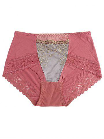 Latest Lingerie Panties with Lace Trim RUSSET-RED ONE SIZE