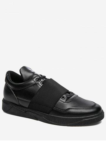 Sale Elastic Band PU Leather Casual Shoes - 44 BLACK Mobile