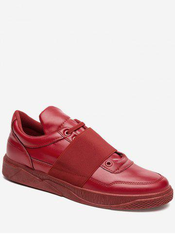 Buy Elastic Band PU Leather Casual Shoes RED 43