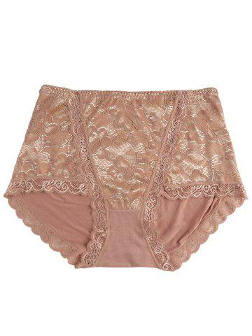 Trendy Full Coverage Panties with Lace COFFEE ONE SIZE