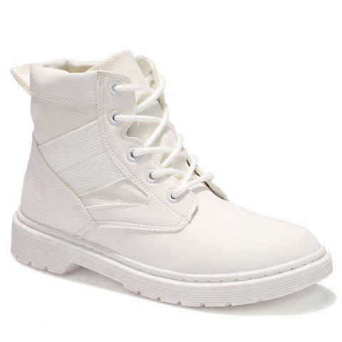 Shops Stitching Splicing Ankle Boots WHITE 36