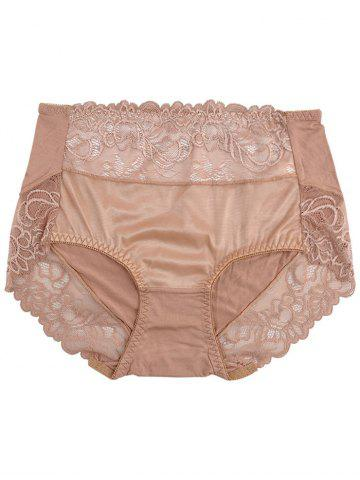 Trendy Lace Insert Lingerie Panties - ONE SIZE KHAKI Mobile