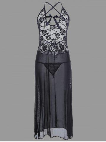 Outfit Sheer Lace Long Crossback Slip Babydoll BLACK XL