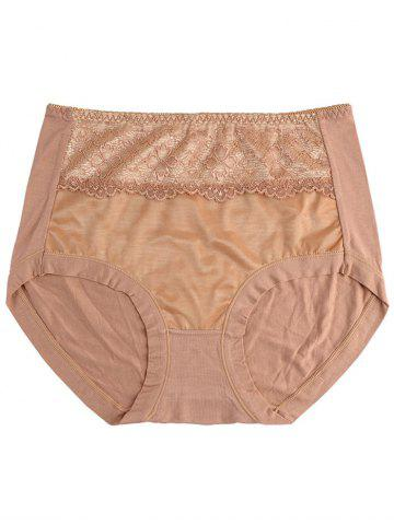 Trendy Mesh Panel Lingerie Panties - ONE SIZE COFFEE Mobile