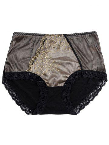 Shop Panties with Lace Trim - ONE SIZE BLACK Mobile