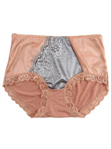 Cheap Panties with Lace Trim LIGHT COFFEE ONE SIZE