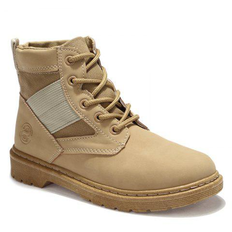Outfit Stitching Splicing Ankle Boots KHAKI 39