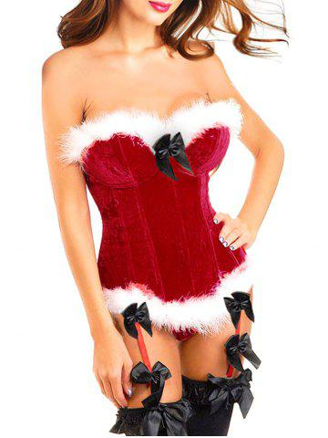 Sale Velvet Christmas Corset Top with Faux Fur Hem RED S