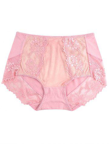 Online Lace Panel Lingerie Panties PINK ONE SIZE