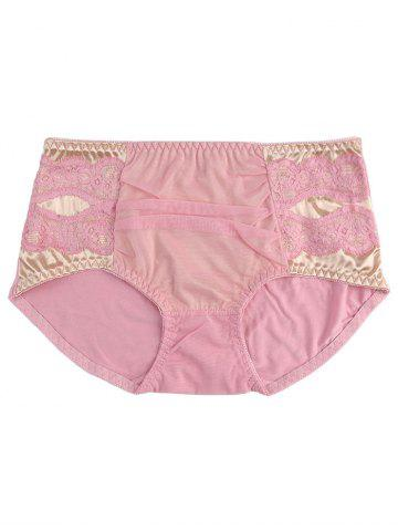 Trendy Mesh Panel Lingerie Panties - ONE SIZE PINK Mobile