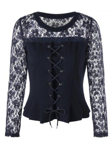 Store Lace Insert Lace-up Peplum Blouse