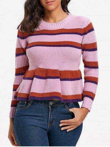 Discount Striped Crew Neck Peplum Sweater COLORMIX ONE SIZE