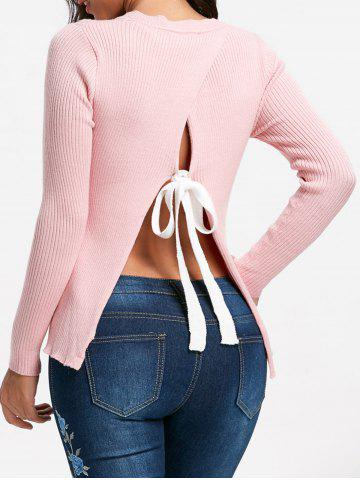 Outfit Ribbed Back Slit Sweater PINK L