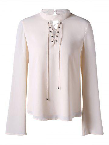 Cheap Lace Up Mock Neck Blouse - L OFF-WHITE Mobile