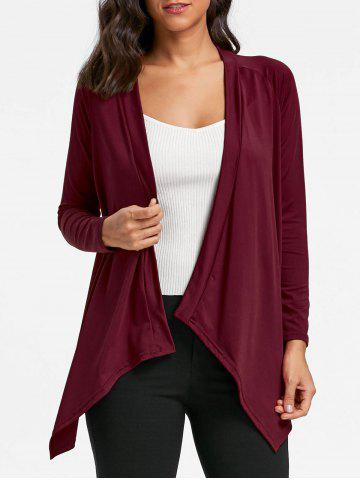 Store Draped Asymmetrical Open Front Cardigan WINE RED L