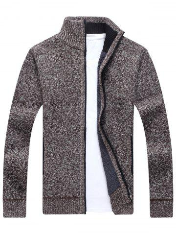 Best Zip Up Knitted Cardigan Sweater COFFEE L