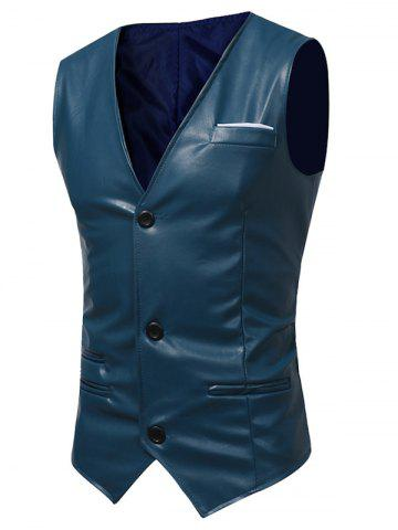 Hot Edging Belt Design PU Leather Waistcoat DEEP BLUE L