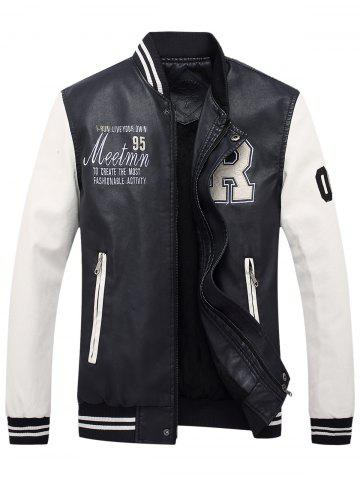 Buy Graphic Embroidered PU Leather Baseball Jacket WHITE M