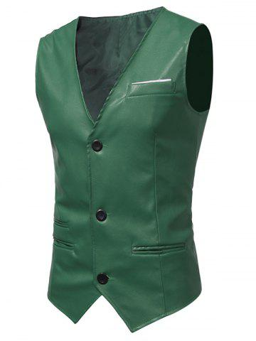 Chic Edging Belt Design PU Leather Waistcoat GREEN L
