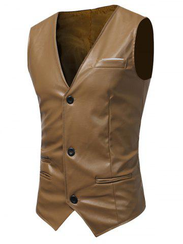 Chic Edging Belt Design PU Leather Waistcoat - BROWN XL Mobile