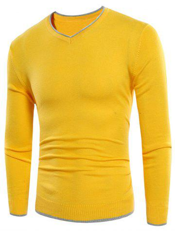 Latest Contrast Trim V Neck Sweater YELLOW XL