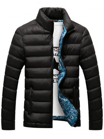 Unique Casual Zip Up Padded Jacket BLACK 4XL