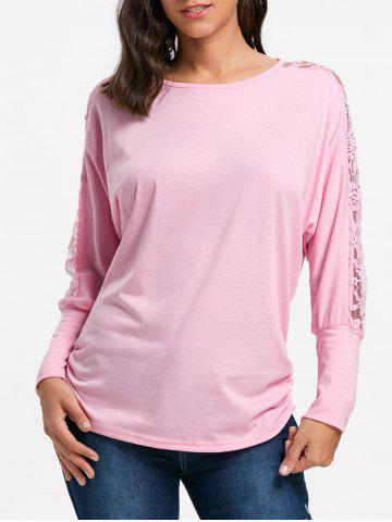 Affordable Batwing Sleeve Lace Insert Top - 2XL PINK Mobile