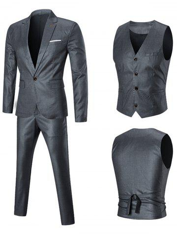 Shop Slim Fit Three-piece Business Suit - 5XL SILVER Mobile