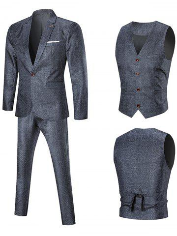 Shop One Button Argyle Three-piece Business Suit PEARL DARK GREY XL