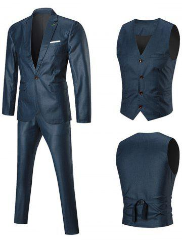 Online Lapel One Button Three-piece Business Suit BLUE 3XL