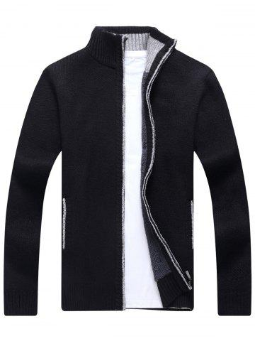 Discount Zip Up Knitted Cardigan Sweater BLACK M