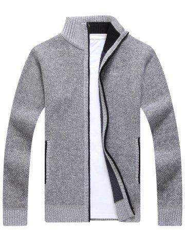 Buy Zip Up Knitted Cardigan Sweater LIGHT GRAY 3XL