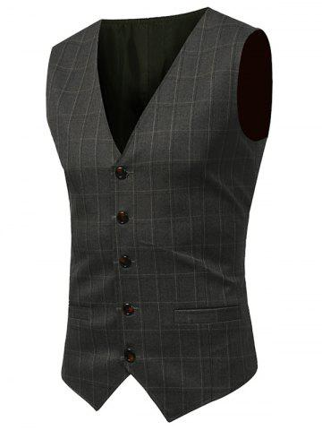 Discount Belt Design V Neck Checked Waistcoat - XL ARMY GREEN Mobile