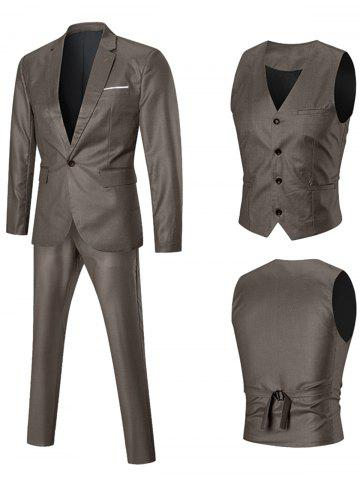 Unique Lapel One-button Three Piece Business Suit GOLDEN 3XL