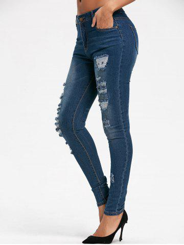 Affordable Skinny Ripped Denim Jeans - XL BLUE Mobile