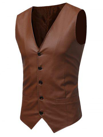 Chic Belt Design V Neck PU Leather Waistcoat - XL COFFEE Mobile