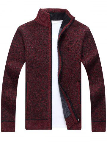 Chic Zip Up Knitted Cardigan Sweater WINE RED 3XL
