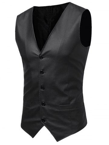 Hot Belt Design V Neck PU Leather Waistcoat - 2XL BLACK Mobile