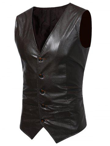 Hot Belt Design V Neck PU Leather Waistcoat LIGHT BROWN 2XL