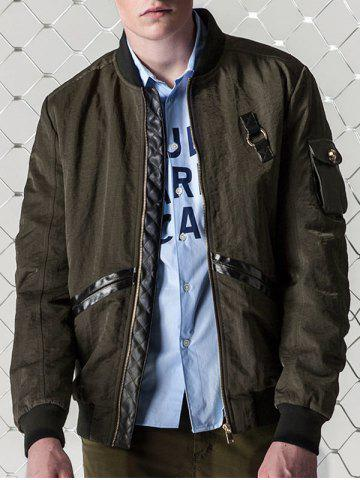 Fancy Zip Up PU Panel Bomber Jacket - L ARMY GREEN Mobile