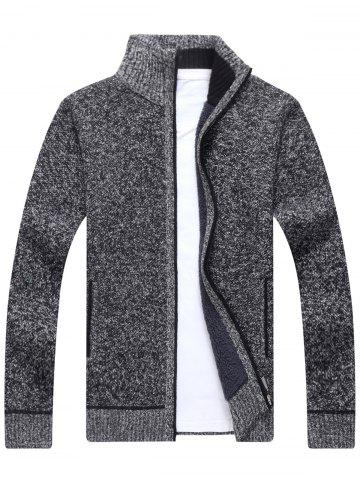 Unique Zip Up Knitted Cardigan Sweater DEEP GRAY 3XL