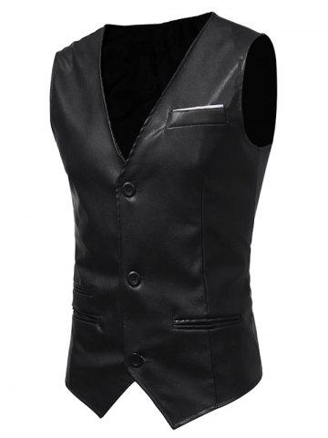 Discount Edging Belt Design PU Leather Waistcoat BLACK L