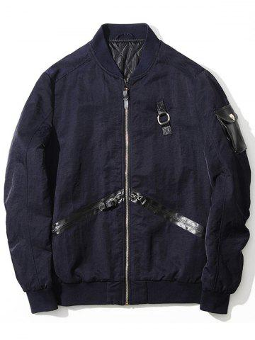 Buy Zip Up PU Panel Bomber Jacket PURPLISH BLUE 2XL