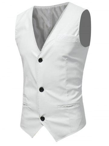 Best Edging Belt Design PU Leather Waistcoat - WHITE XL Mobile