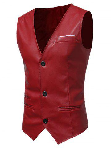 Buy Edging Belt Design PU Leather Waistcoat - RED L Mobile