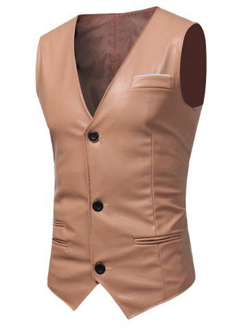 Unique Edging Belt Design PU Leather Waistcoat - PAPAYA XL Mobile