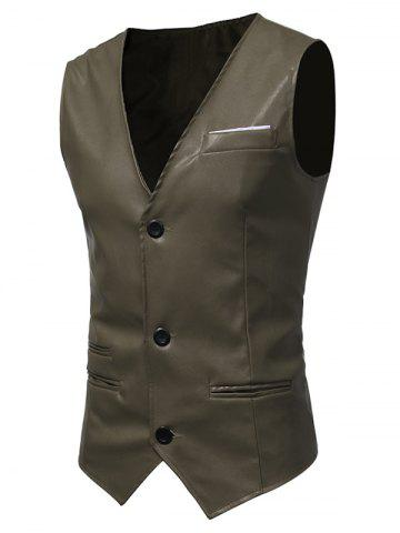 Buy Edging Belt Design PU Leather Waistcoat - ARMY GREEN XL Mobile