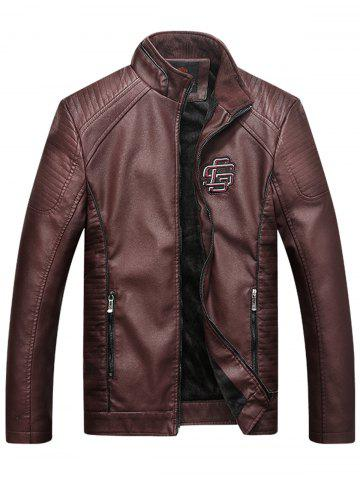 Fancy Embroidered Fleece Pleat PU Leather Jacket - L COFFEE Mobile