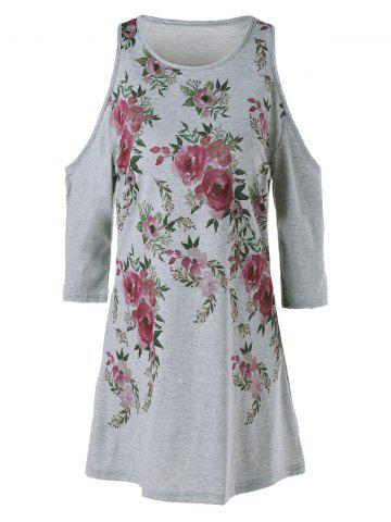 Buy Cold Shoulder Floral Mini Dress - M GRAY Mobile