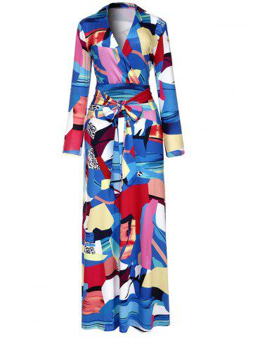 Outfits Floor Length Geometric Print Surplice Dress